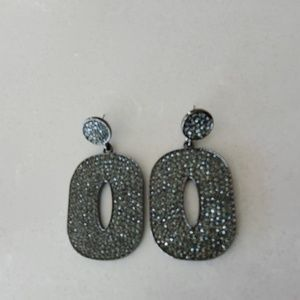 BCBG Maxazria Black Pave Drop Earings